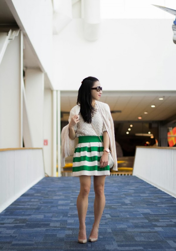 Green and White Stripe Skirt
