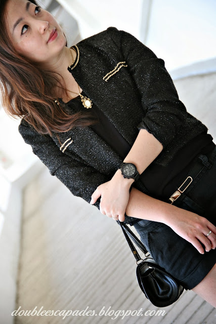 OOTD Black Short Shirt Jacket 5 - doubleescapades.blogspot.com
