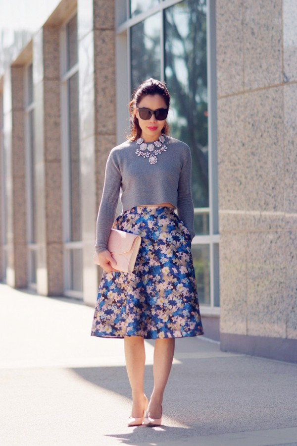 HallieDaily-Floral-Full-Skirt-and-Gray-Cropped-Top_2