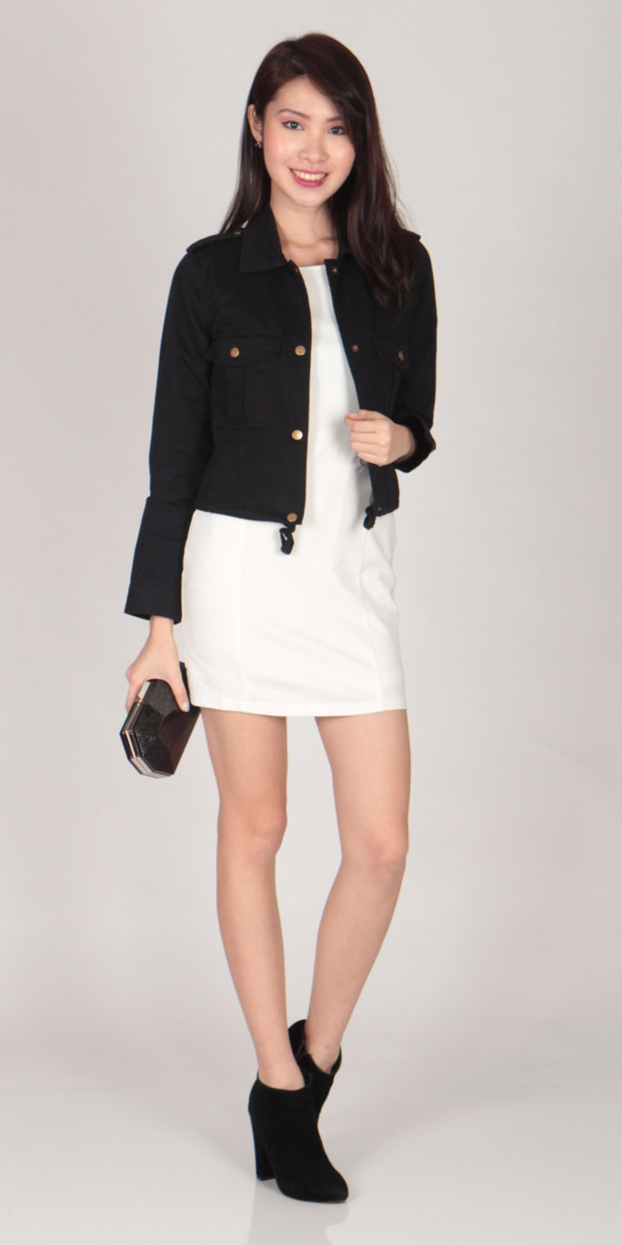 Cropped Military Jacket (Navy)